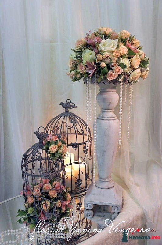 Vintage and unique birdcage and floral wedding decorations