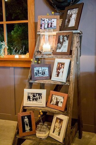 Vintage wedding decor ideas with ladders and old photos