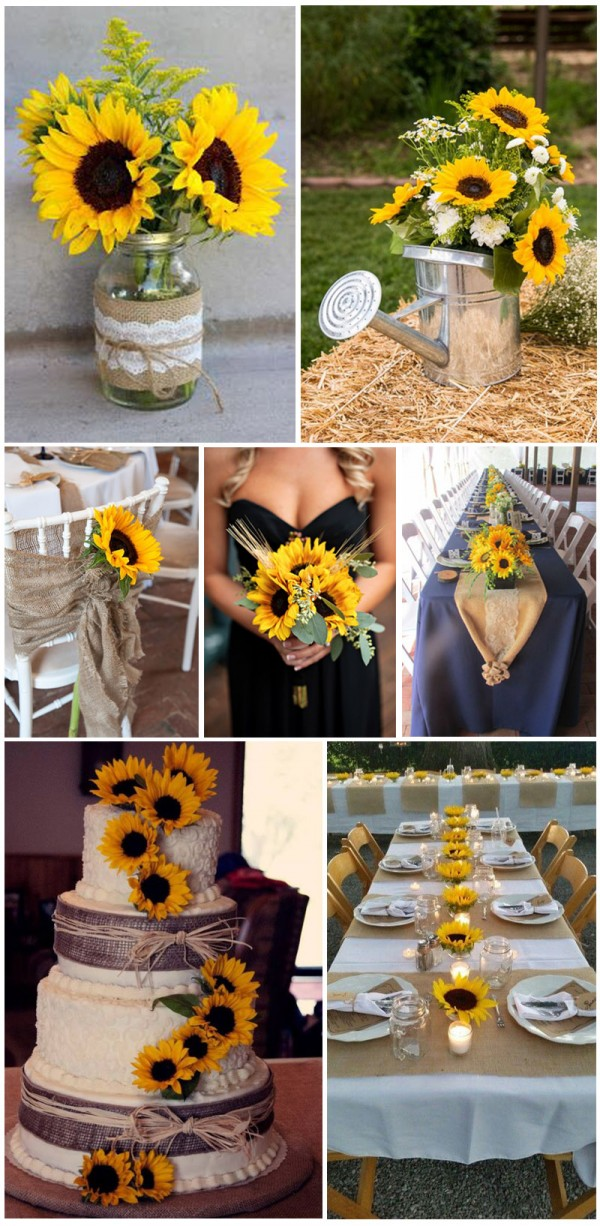 Warm and bright sunflower for outdoor wedding