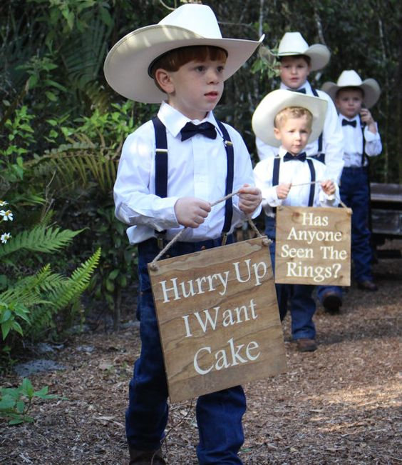 funny ring bearer signs - Hurry up i want cake