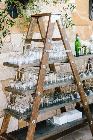 gorgeous outdoor wedding reception bar ideas with ladder