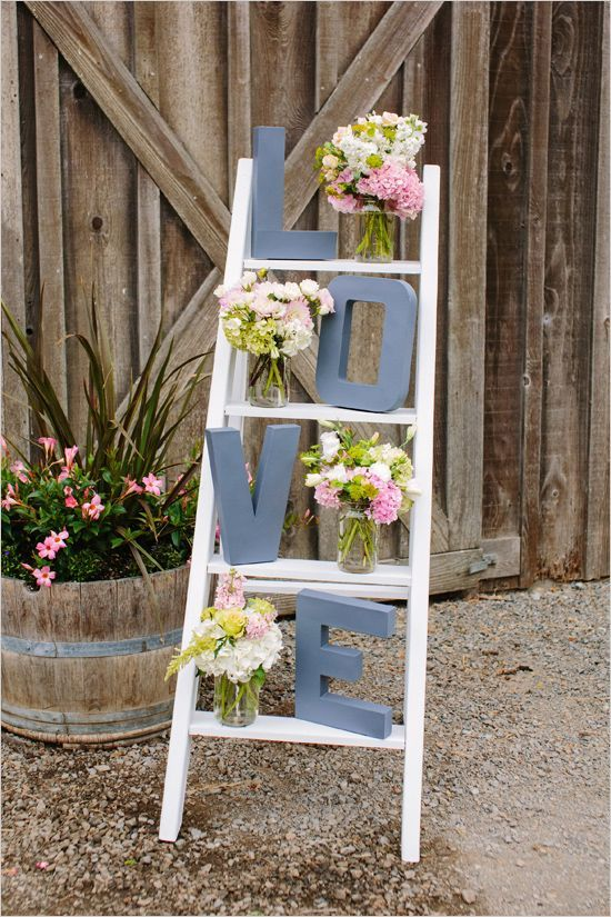 ladder and letters wedding ideas