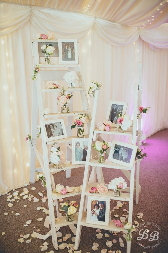 ladder to display family wedding photos