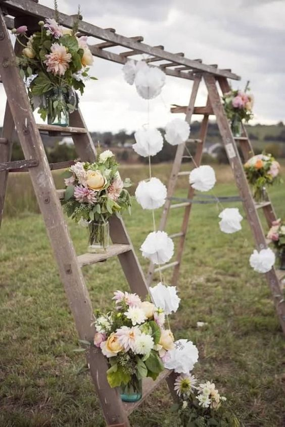 rustic wedding ladder arch decoration ideas