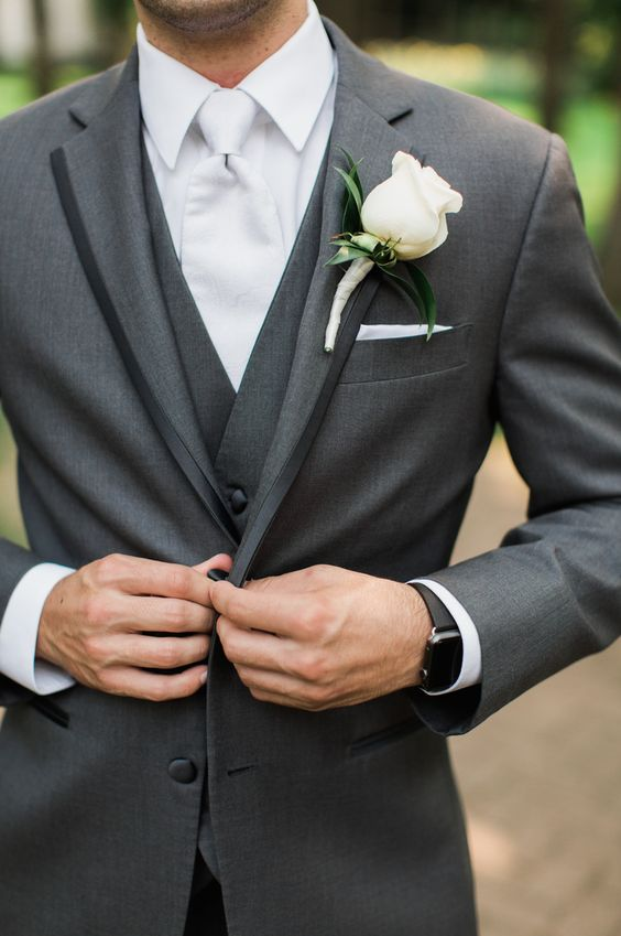 tuxedo grey wedding groom suit