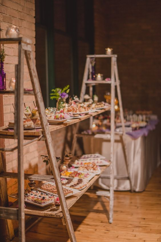 wedding dessert with ladders