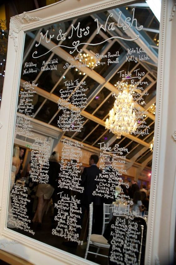 Antique mirror with writing