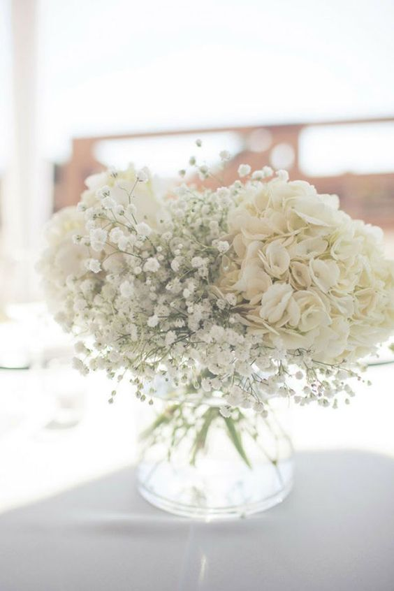 Beautiful Hydrangeas and baby's breath wedding centerpieces