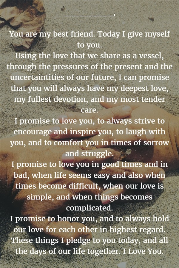 22 examples about how to write personalized wedding vows best friend wedding vows ideas junglespirit Image collections