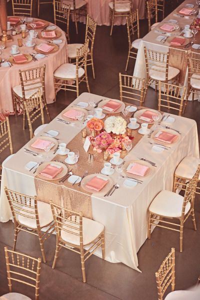 Wedding Reception Blush And Gold Celebration Decorations Via Stylemepretty