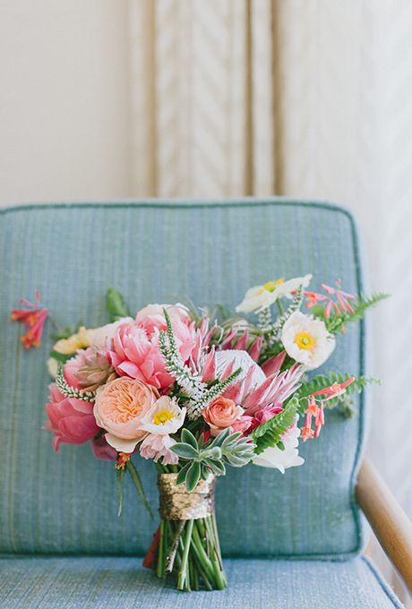 Bright and Beautiful Rose and Protea Wedding Bouquets