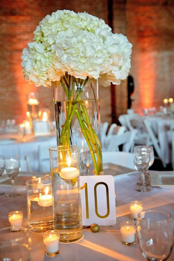 Brilliant hydrangeas Wedding Centerpiece