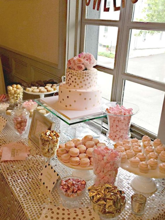 Bubbly Bar, Blush, Pink & Gold Bridal Wedding Shower Party Ideas