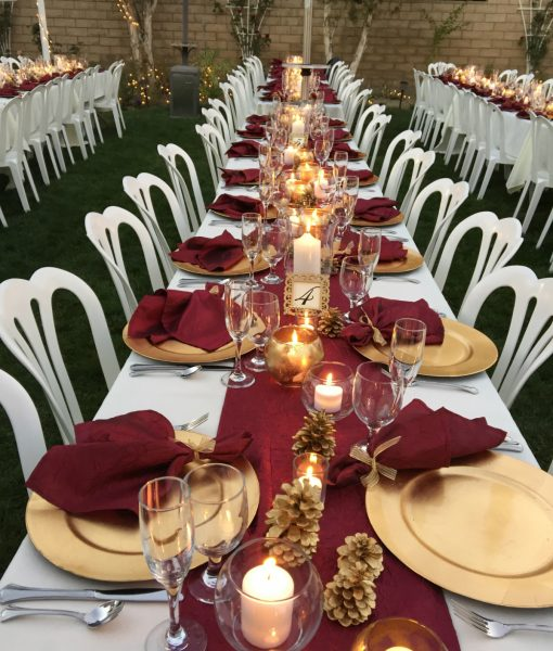 Burgundy and Gold Wedding Table