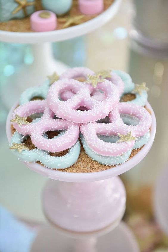 Chocolate Covered Pretzels from a Mermaid Oasis Themed Party via Kara's Party Ideas