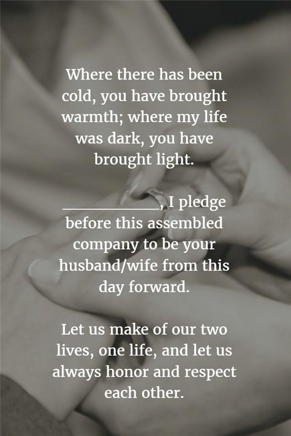 Cold & Warmth standard wedding vows