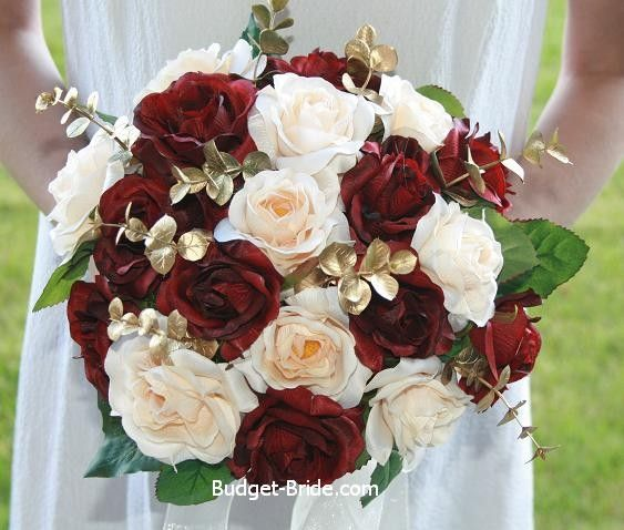 Cranberry champagne and gold wedding bouquet