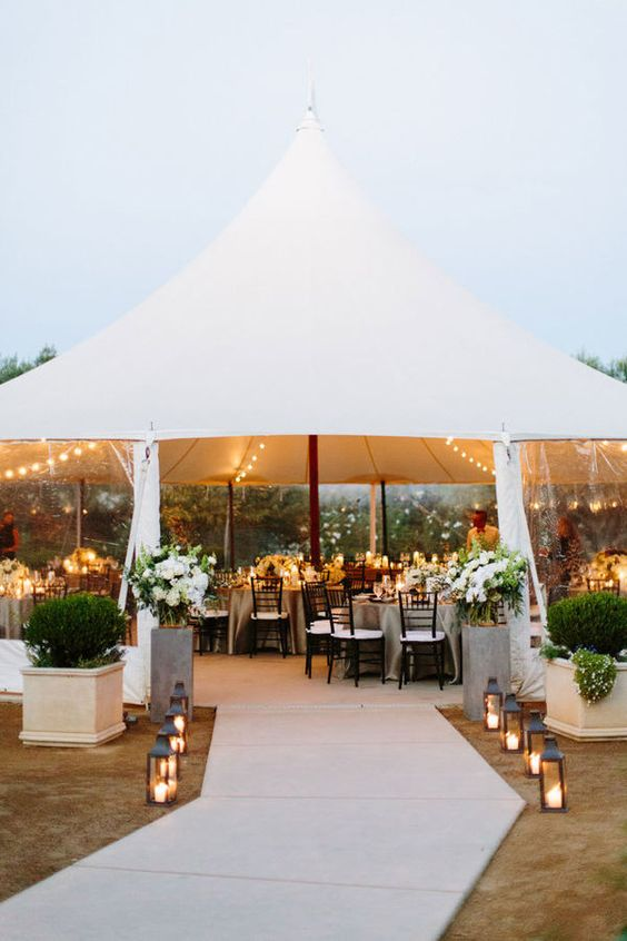 Create a modern and minimalist wedding tent venue