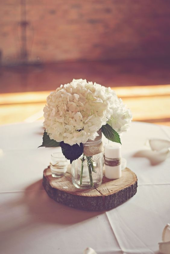 Simple yet rustic diy hydrangea wedding centerpieces