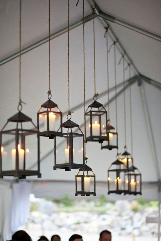 Decorate your wedding tent with hanging lanterns