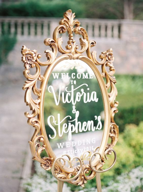 Elegant vintage gold mirror wedding sign