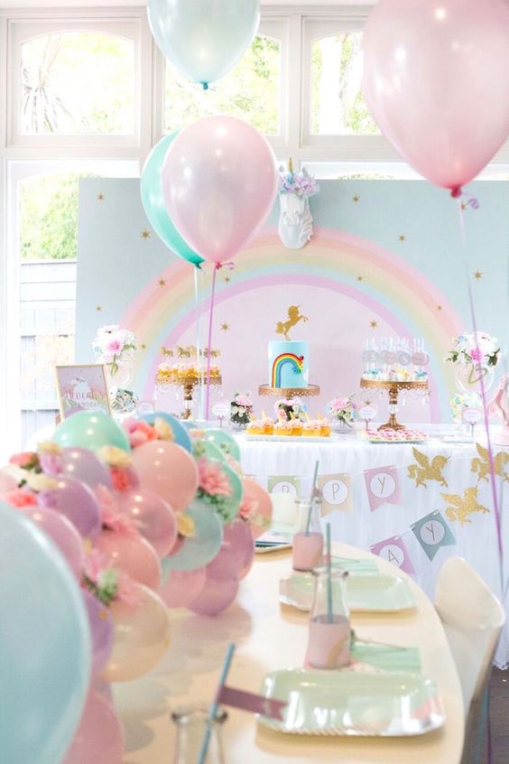Floral Glam Unicorn Party Decor at Kara Party Ideas