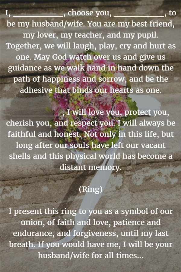 For All Times best wedding vows