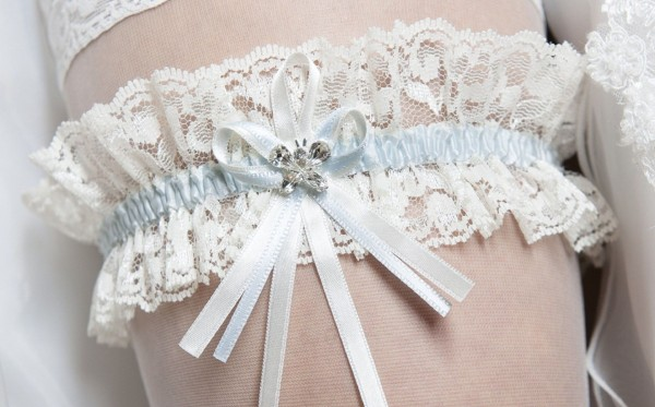 Freya Lace Wedding Garter Wirh Crystal Detail