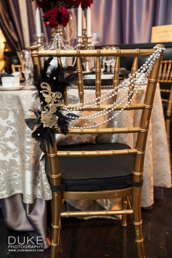 Gold and Black Wedding Chair Decoration