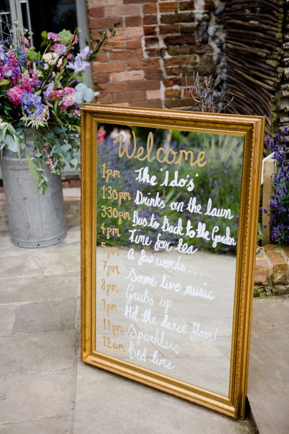 Gold guilt Mirror Order of The Day Sign