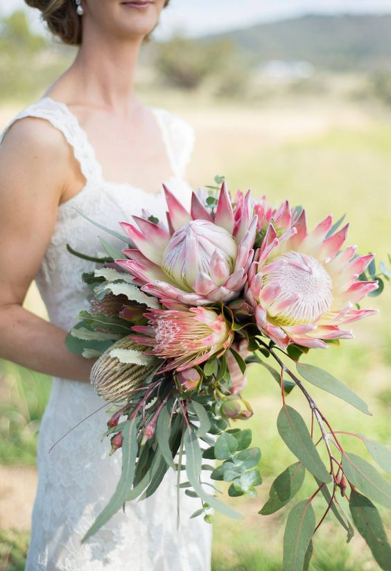 Gorgeous Bridal Bouquet at Peninsula Wild Flower and King Protea