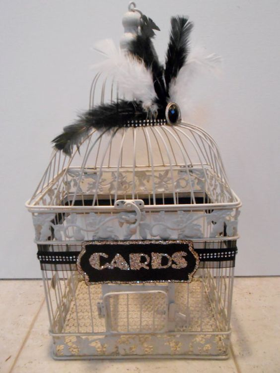 Great Gatsby Inspired Vintage 1920's Style Large Wedding Birdcage Card Holder