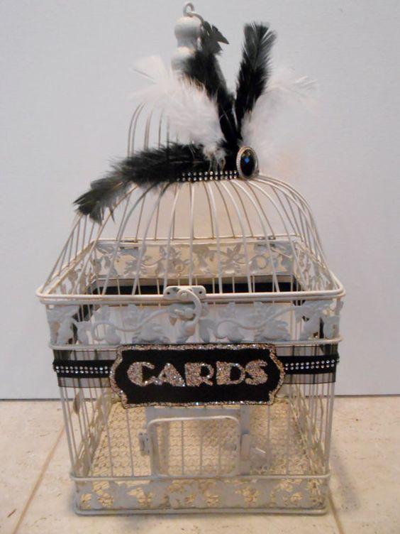 Great Gatsby Inspired Vintage 1920's Style Large Wedding Birdcage Card Holder