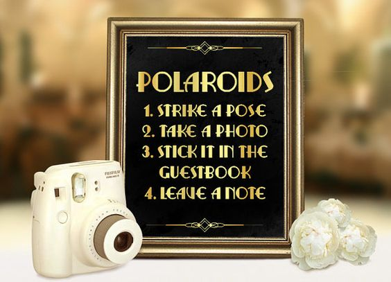Great Gatsby wedding polaroid guestbook sign