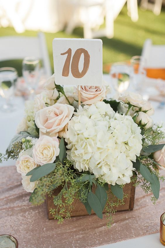 Hydrangea and Bush Wedding Decor with Metallic Table Numbers