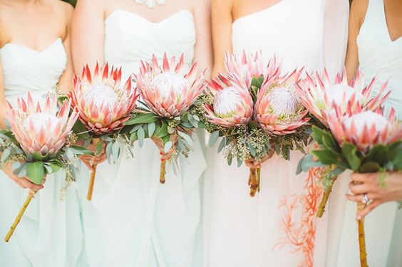 22 Tropical King Protea Wedding Bouquets Ideas