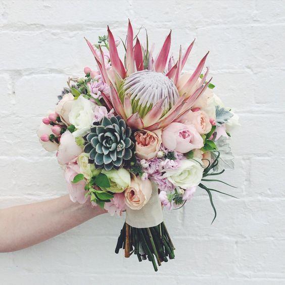King protea, succulents, airplants Bridal Bouquet Ideas