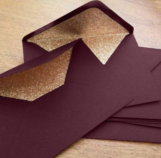 Marsala and Rose Gold Glitter Lined Wedding Envelopes