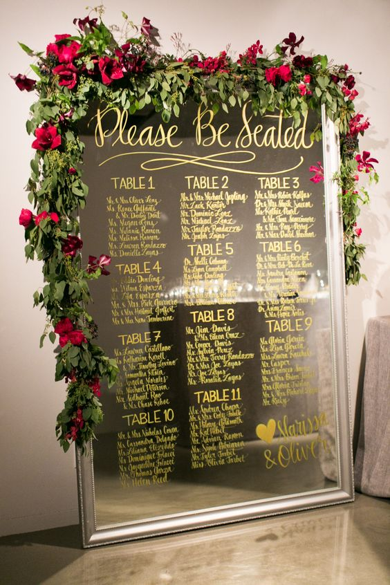 Mirror Seating Chart with Greenery