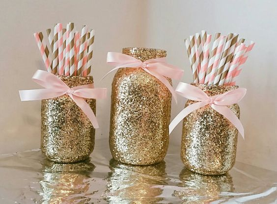 Pink and gold mason jar set by EverydayDesignEvents