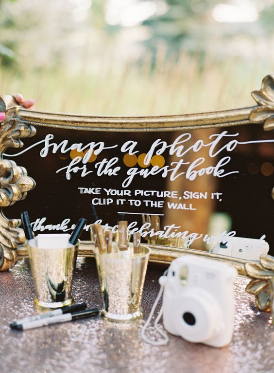 Polaroid guest book and mirror sign ideas by Carrie King