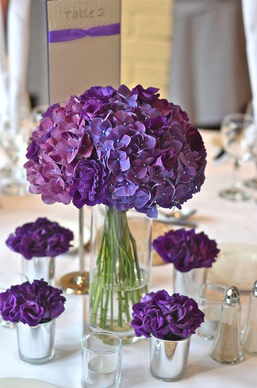 Purple Hydrangea Wedding Bouquets and Centerpiece