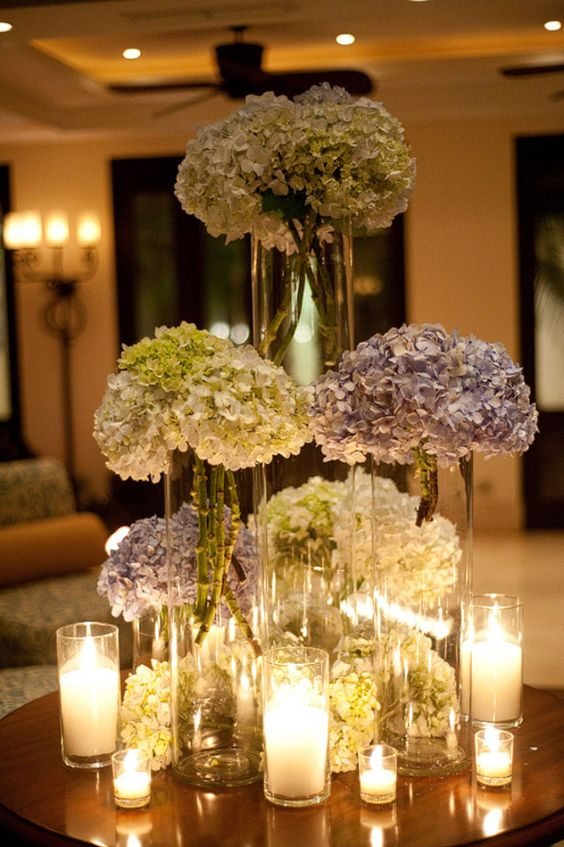 Purple and White Tall Hydrangea Centerpieces