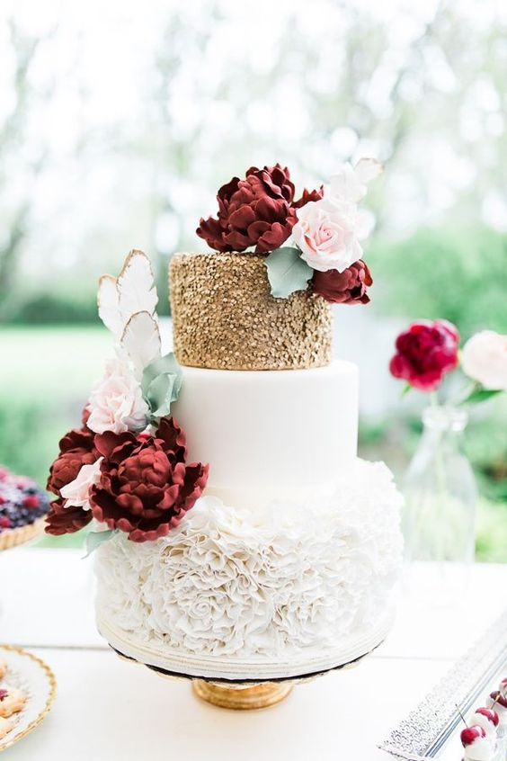 Romantic Floral Wedding Cakes With Burgundy and Rosegold