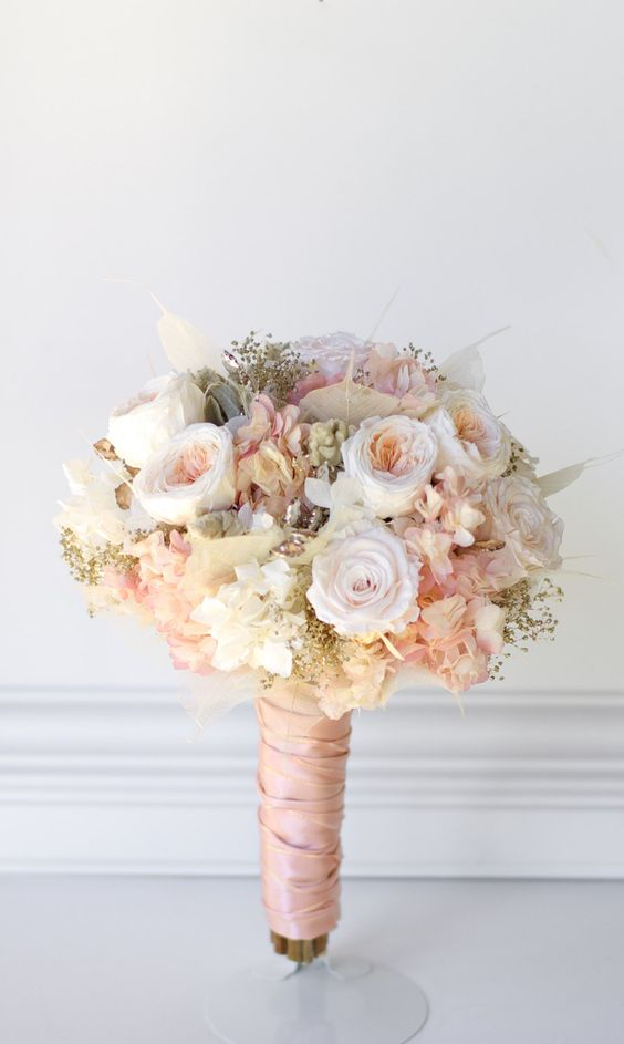Rose Gold Rose Quartz Bridal Bouquet