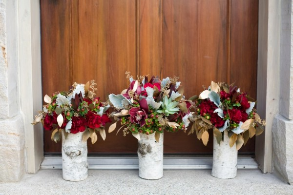 Romantic burgundy and rose gold fall wedding ideas