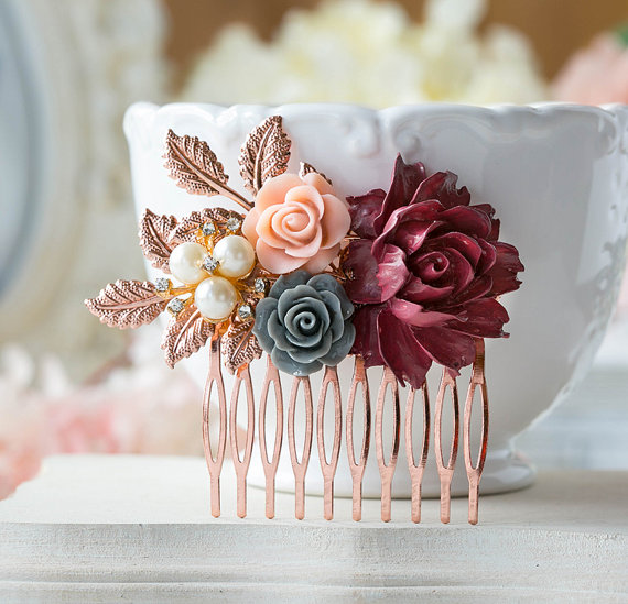 Rose Gold and Burgundy Wedding Accessories