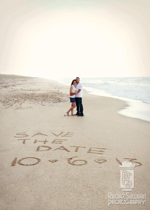 Save the Date beach engagement portraits