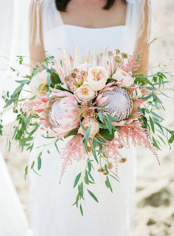 Spanish Bohemian Beach Bouquet Inspiration With Protea