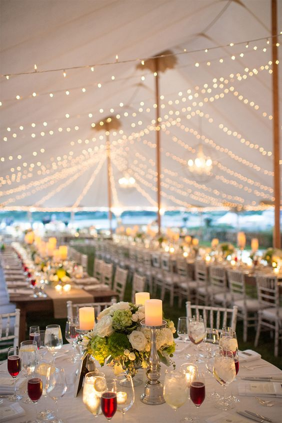 Tented Wedding with al fresco lighting and candles